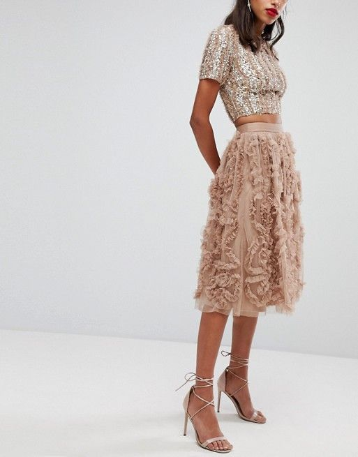 Lace and Beads   Lace & Beads Tulle Midi Skirt With 3D Shirring Detail