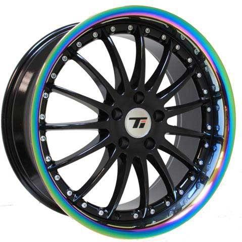 Black wheel with neo chrome rim