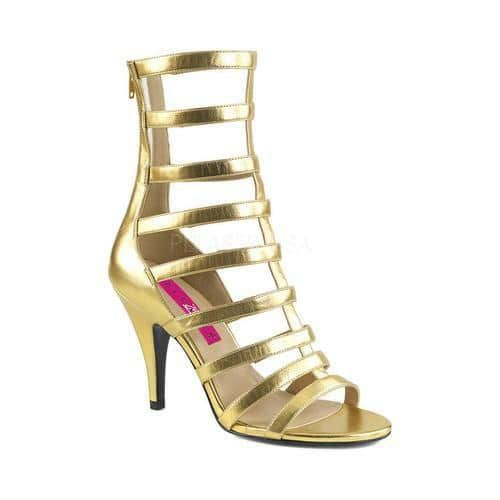 Women's Pleaser Pink Label Dream 438 Cage Shoe Gold