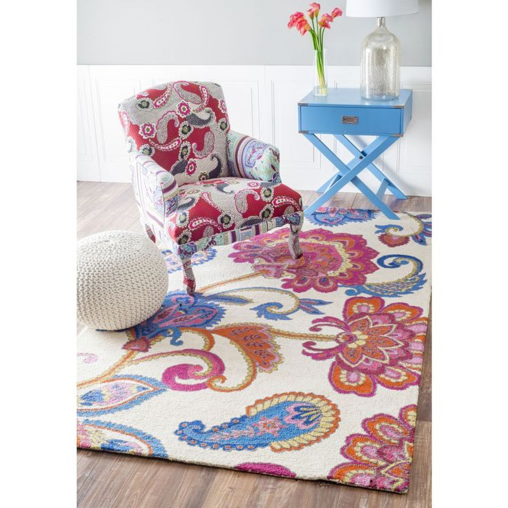 Rugberry Woolen Hand-Tufted Floral, Beige Carpet, Rug. Handcrafted by skilled craftsmen. Available in 3X5 ft, 4X6 ft, 5X8 ft sizes
