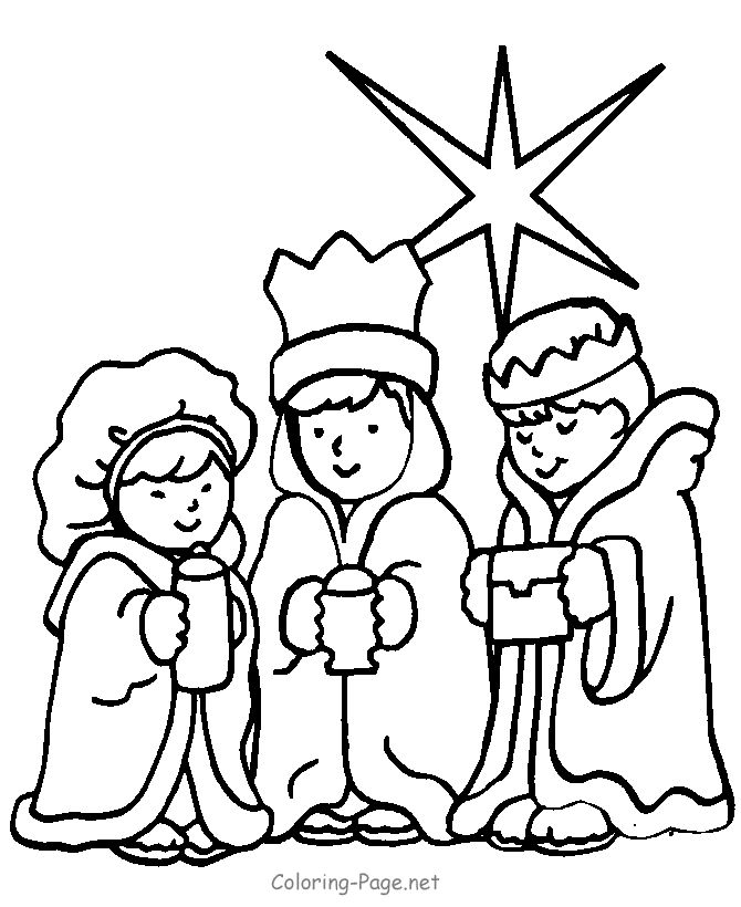 christian coloring page three kings kids