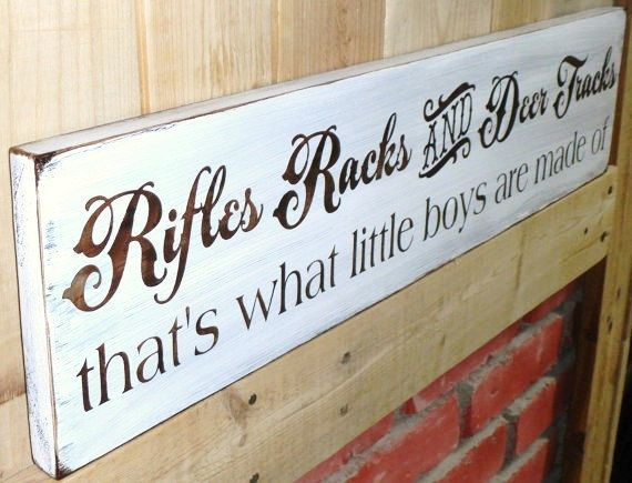 "Baby Boy's Nursery, Rustic Rifles, Racks and Deertracks...That's what little boys are made of"" country hunting hunter man cave buck southern on Etsy, $31.91 CAD"