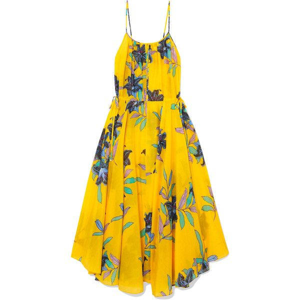 Diane von Furstenberg Floral-print cotton and silk-blend maxi dress (€240) ❤ liked on Polyvore featuring dresses, marigold, yellow maxi dresses, multi color maxi dress, floral dresses, beachy dresses and yellow beach dress