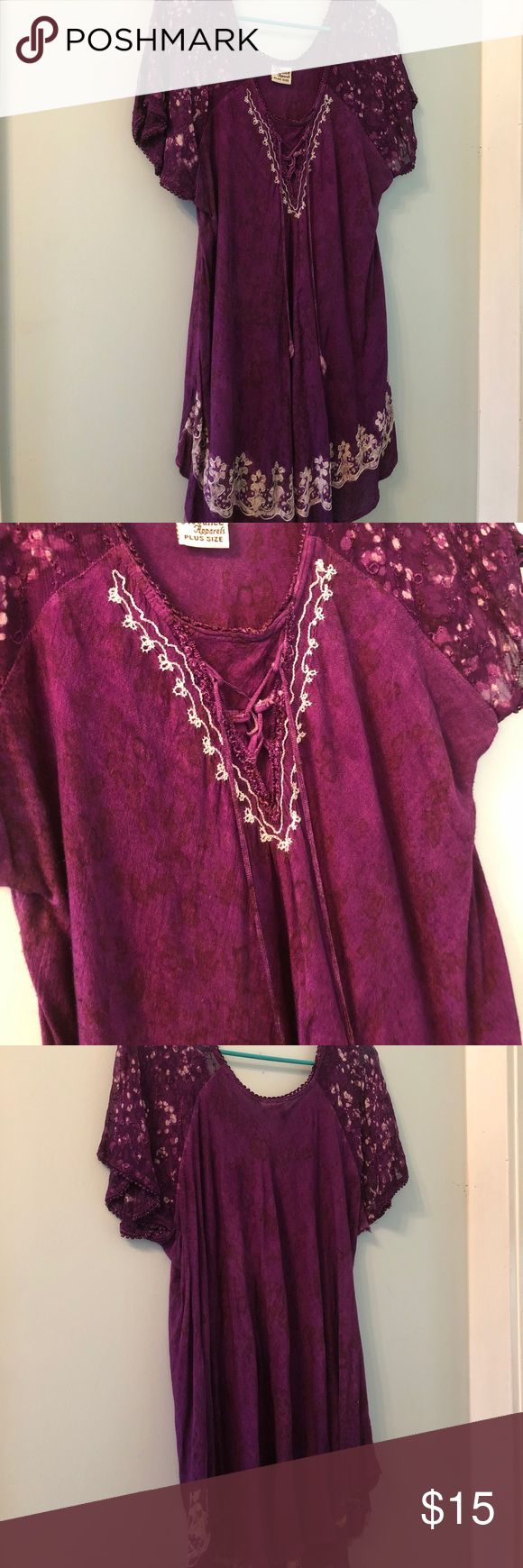 Advance Apparels Purple short sleeve blouse Beautiful deep purple short sleeve top with lace up detailing at front bodice. 100% cotton. Some unraveling at hems. Size 22. Advance Apparels Tops Blouses