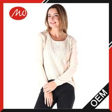 2016 fashion women lace organic cotton pullover sweater Belly top design