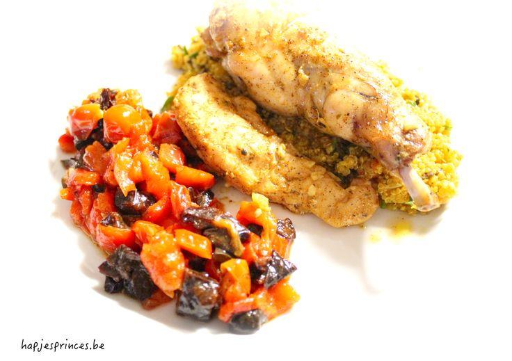 Lekker gezond recept met konijn en pruimen en quinoa. Blog met gezonde recepten. Gezond eten.