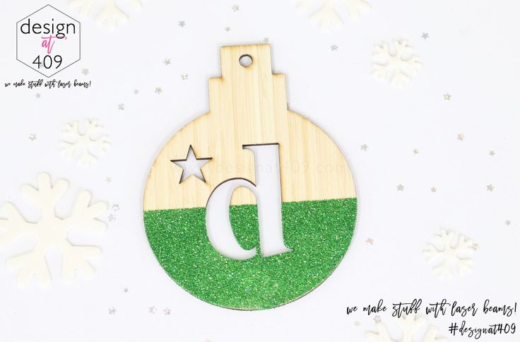 Initial With Star Christmas Tree Bauble 3 : Bamboo With Glitter : Design at 409