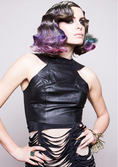 Joey Scandizzo - short brown wavy hair shoulder length finger wave purple blue pink