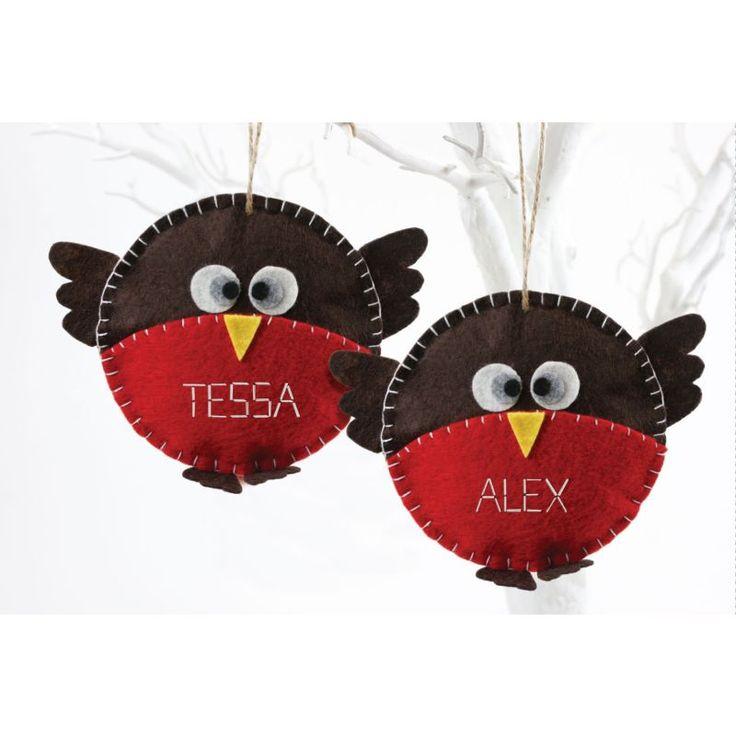 Make Your Own Felt Christmas Robin Decoration Kit 2 Pack | Hobbycraft