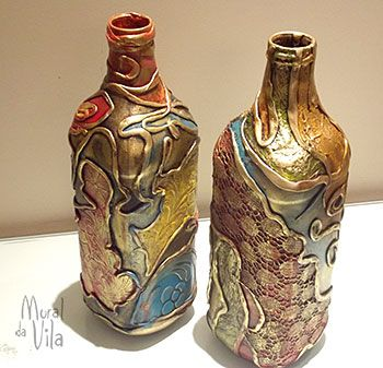 Bottle with mixed media