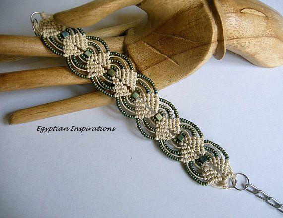 Micro macrame bracelet. Beaded in hemp and patina. Micro macrame jewelry.