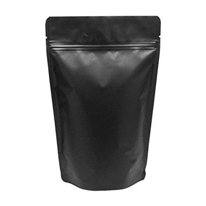 Baking Addict Whole 100 Foil Stand Up Heat Sealable Resealable Zip Pouch Food Storage Packaging Bags With Tear Notch Matte Black 16 Ounce 1 Pound