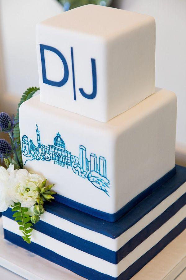 Modern navy blue and white wedding cake