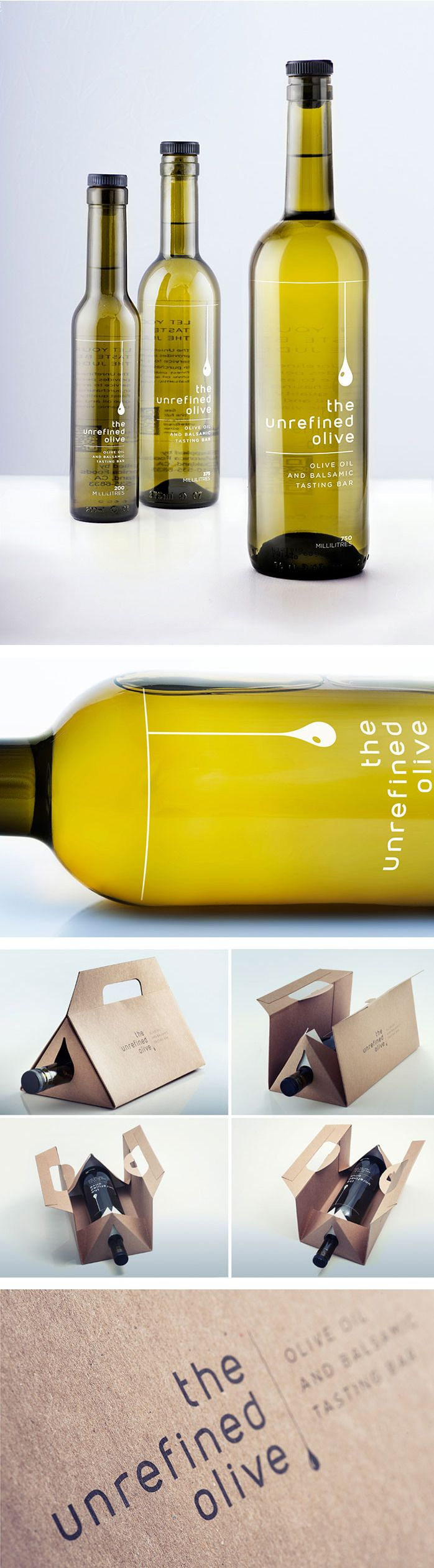 The Unrefined Olive Oil - the typography is lackluster, but that carrying case is pretty clever.