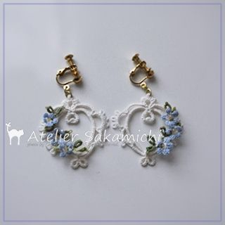 Heart earrings completion of Tatting forget-me-not. : Tatting news - Atelier hill ~