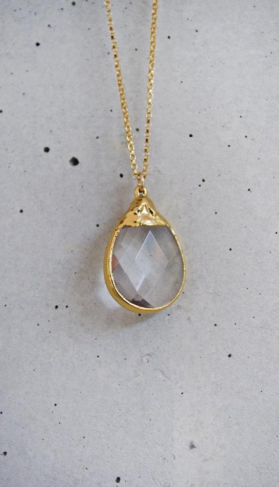Crystal Briolette Drop 14k Gold Filled by shopkei, $45.00: Crystals Briolett, Jewelry Crystals Pendants, 14K Gold, Fillings Necklaces, Briolett Drop, Gold Fillings, Drop 14K, Crystals Necklaces, Briolett Necklaces