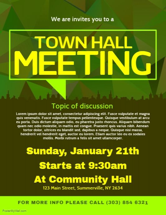 Town Hall Meeting Flyer Postermywall Town Hall Meeting Poster