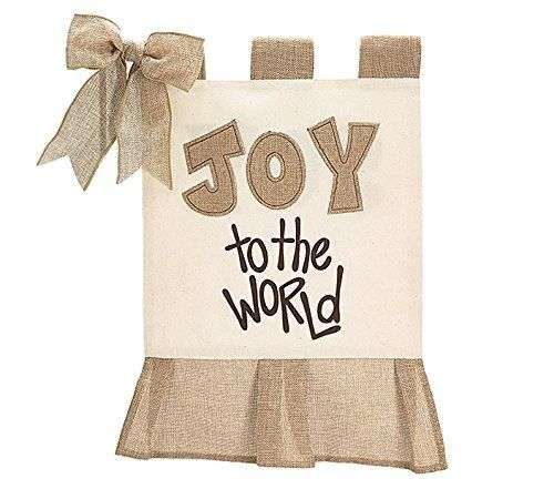 "Burton + Burton Burlap and Cream ""Joy to the World"" Outdoor Flag"