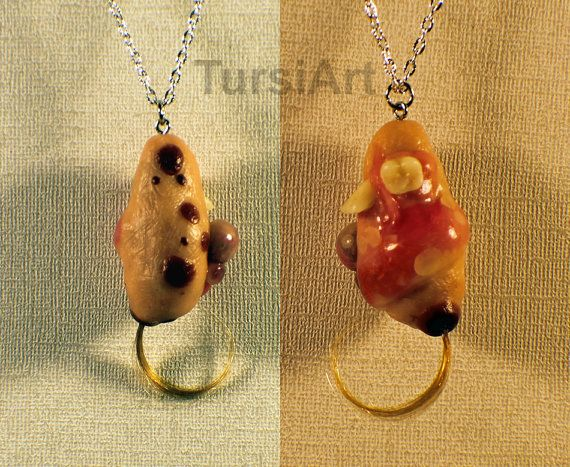 Teratoma Tumor Pendant Dermoid Cyst Parasitic Twin Tumor with Hair and Teeth Prop Gaff Oddity on Chain Necklace Polymer Clay Sculpture Tursi