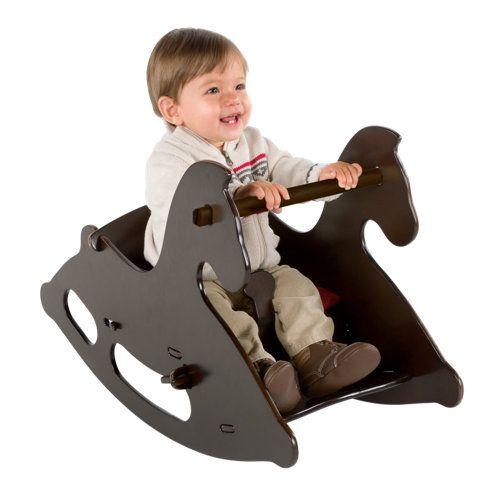 Junior Wood Rocking Horse with Seat Cushion. I think it's the cutest rocking horse I've seen! 18 months and up. / Маленькая деревянная качающаяся лошадка с сиденьем. От 18 месяцев и выше.
