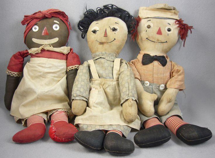 Antique Volland Raggedy Ann Raggedy Andy and Beloved Belindy Estate Dolls | eBay