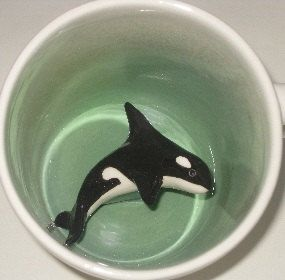 Orca Whale Surprise Mug by SpademanPottery on Etsy, $29.00