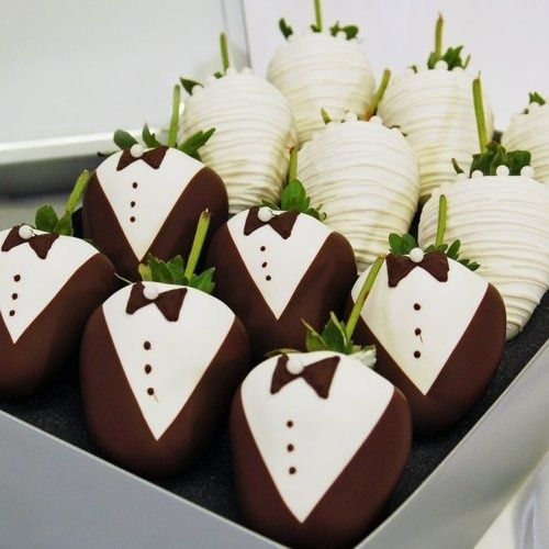 The cutest chocolate covered strawberries for a wedding!