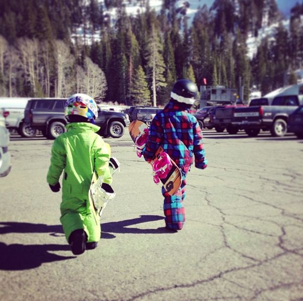 Getting your kids snowboarding and skiing: One piece snowsuits like these from Burton making suiting up a breeze for even the littlest of shredders. Photo by Lee Crane.