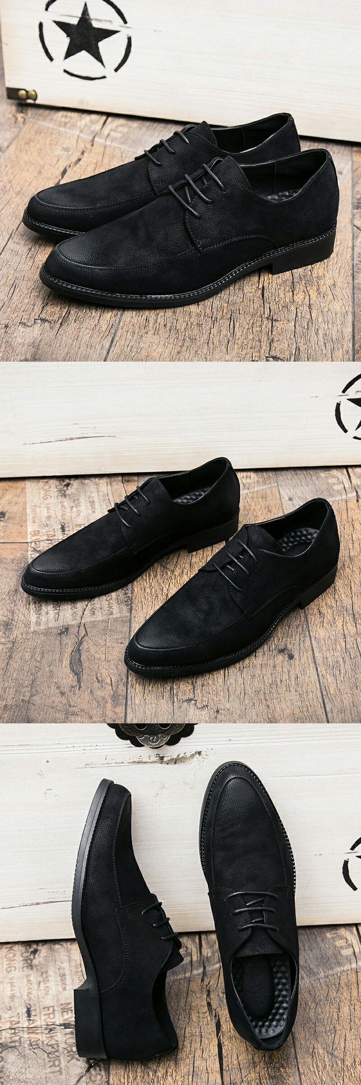 US $26.2<Click to buy> Prelesty New Leather Men Business Dress Loafers Black Shoes Oxford