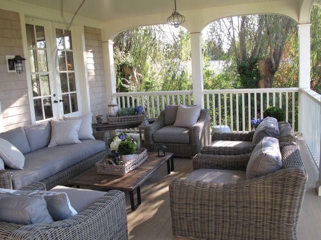 Grey wicker porch furniture