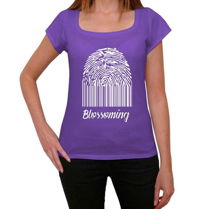 Blossoming, Fingerprint, Purple, Women's Short Sleeve Rounded Neck T-shirt, gift t-shirt