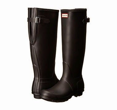 Wide Calf Rain Boots: Hunter Original Back Adjustable. These are a classic style that are known for comfort, durability and style.