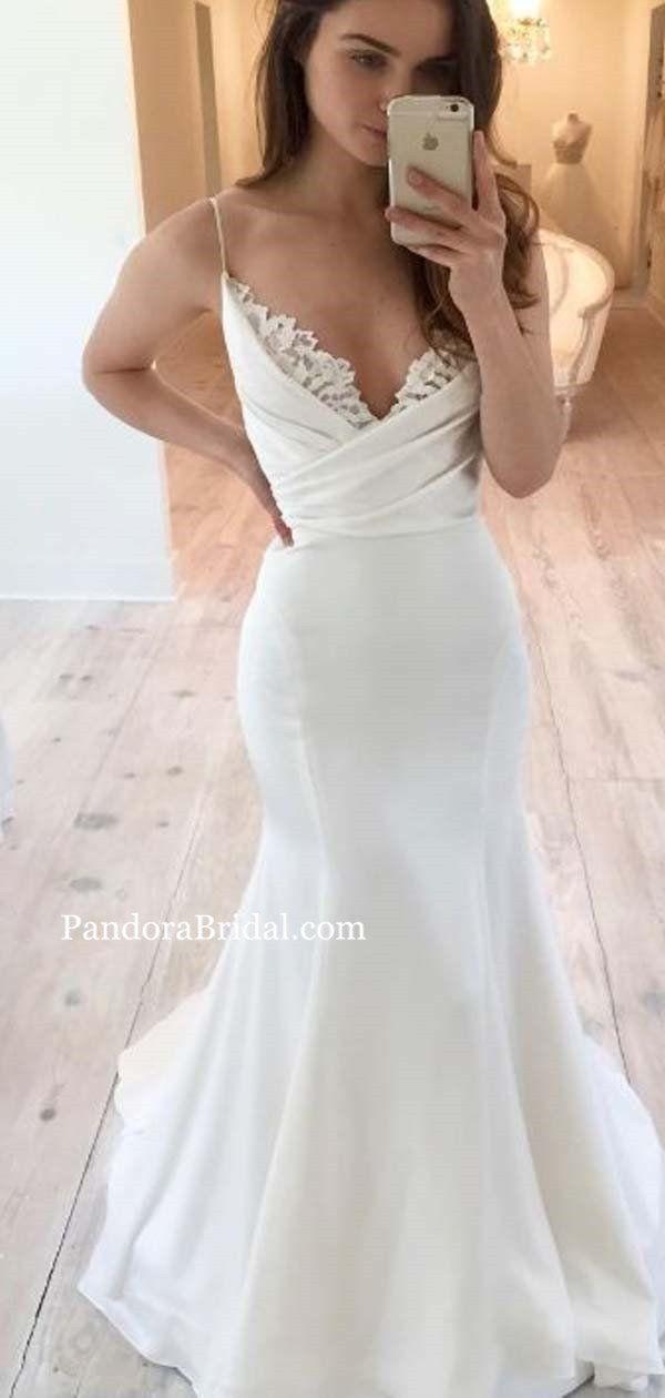Elegant Spaghetti Straps Long Mermaid Wedding Dresses With Lace, Wedding Dresses, PD0541