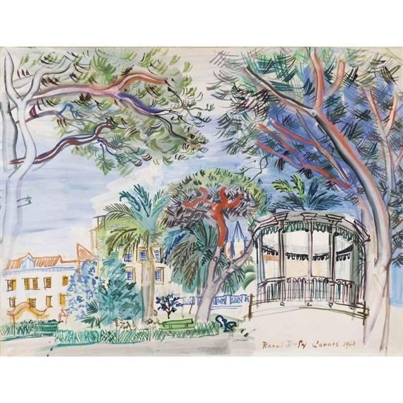 Artwork by Raoul Dufy, CANNES, LE KIOSQUE À MUSIQUE, Made of gouache on paper