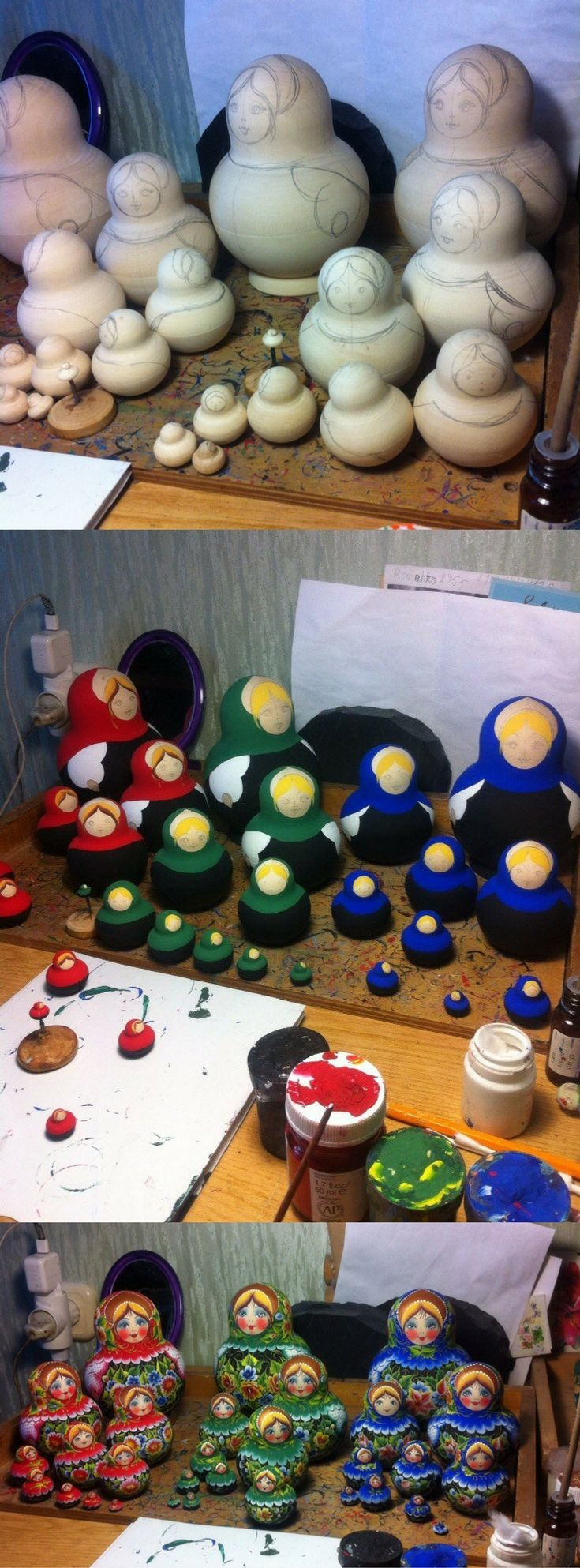 10 piece matryoshka dolls by Nelly Marchenko, process of creation