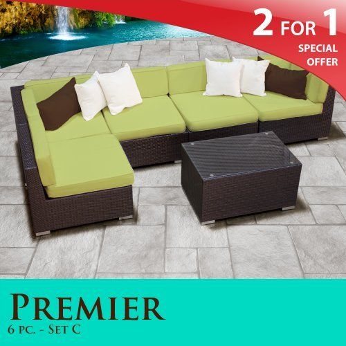 Premier Modern 6 Piece Outdoor Wicker Patio Sofa Sectional Furniture All  Weather Set