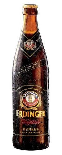 Cerveja Erdinger Weissbier Dunkel, estilo German Dunkelweizen, produzida por Erdinger Weissbräu, Alemanha. 5.3% ABV de álcool.