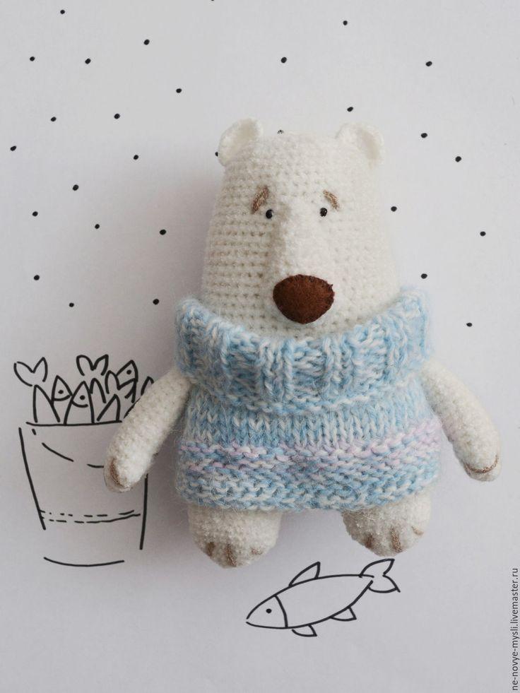 Умка - белый, медведь, медвежонок, белый медведь, белый медвежонок, игрушка, вязаный медведь