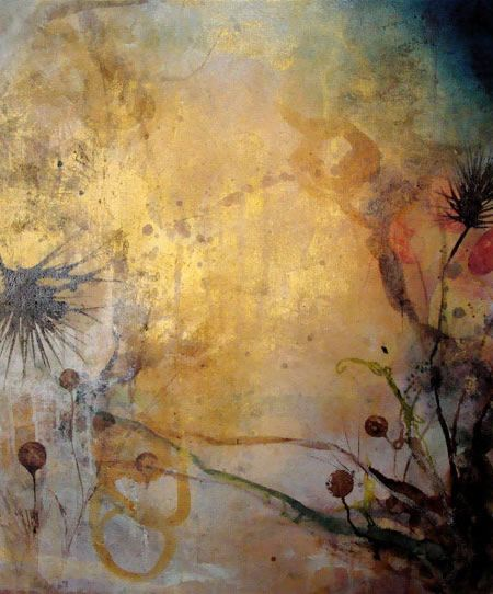 "Deedra Ludwig | Waves of Light and Ether, 2008 | wax, oil, gold leaf, soil on linen 45""x45"""