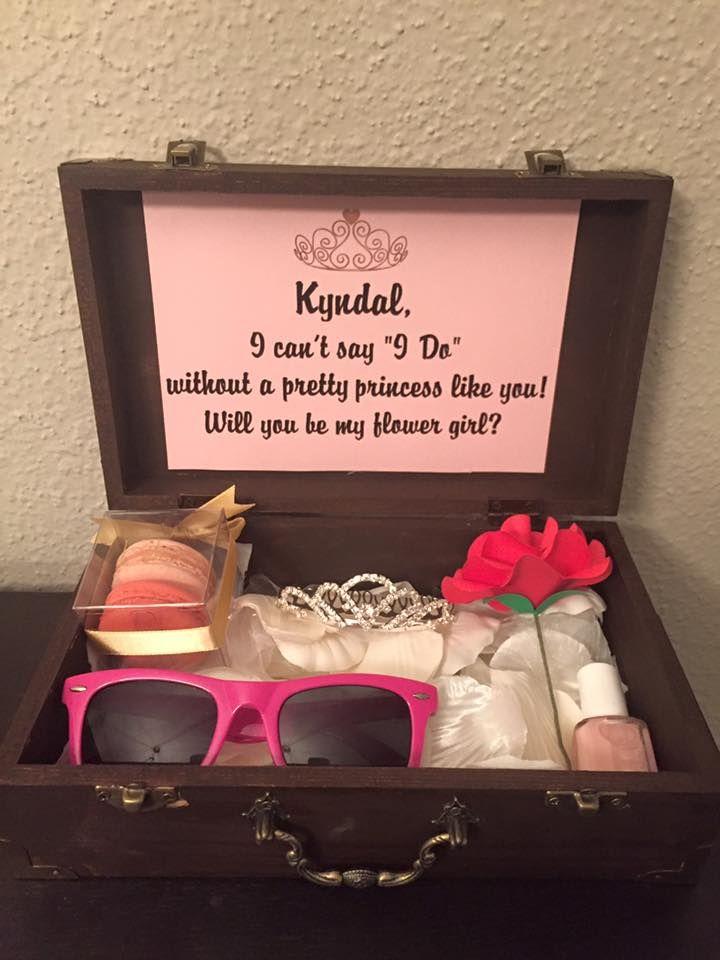 weddings flower girl invite box with paper flower