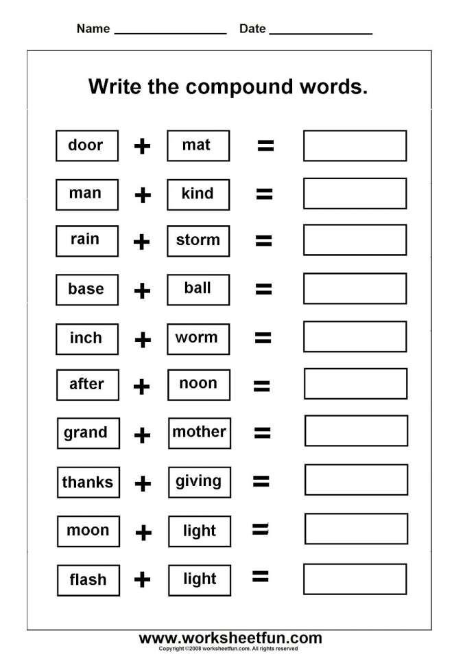 10 Compound Words Worksheet For Kindergarten Compound Words Worksheets Compound Words Compound Words Printables