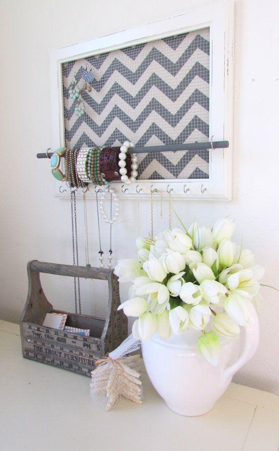 Jewelry Organizer 17x14 Jewelry Holder Chevron Frame 11 silver hooks & Jewelry…