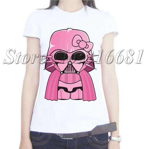 Wholesale Star Wars T Shirt Women funny pink darth vader Print T shirt Woman Clothing Top Tees Short Sleeve milk silk