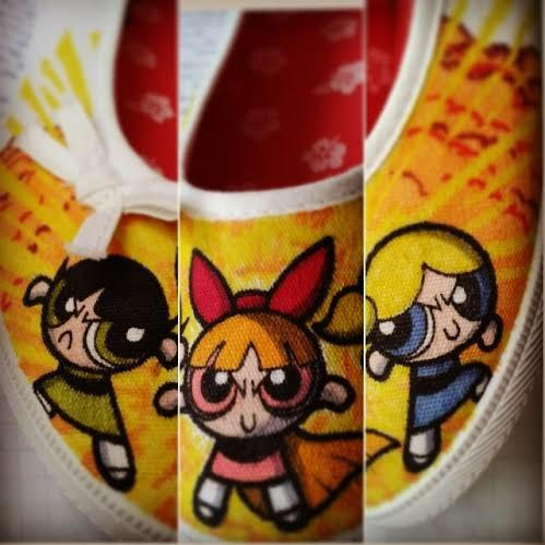 The powerpuff girls!  #powerpuff #bubbles #blossom #buttercup #art #handmade #diy #shoeart #artist #drawing #sharpie #sharpieart #fauvesshoes #Fauve