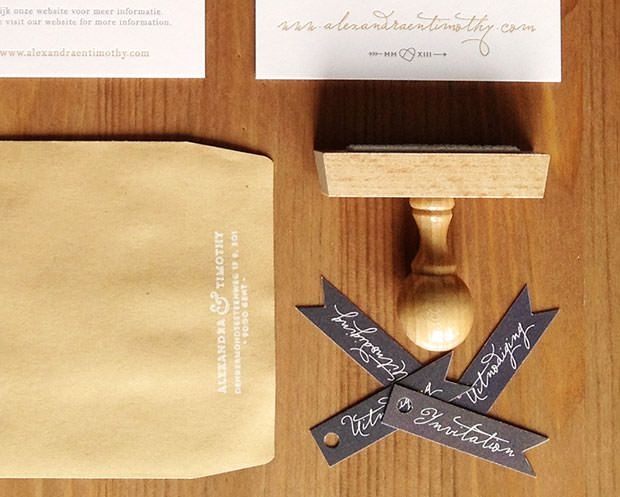 Huwelijksuitnodiging letterpress gent