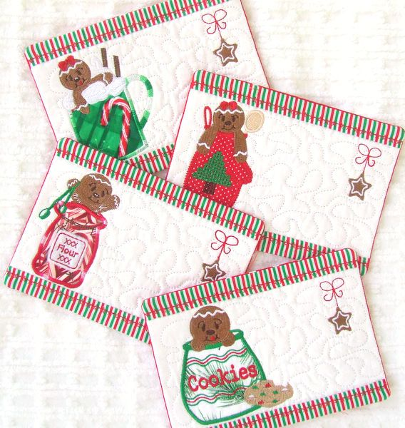 This is a set of 4 mug rugs that display little gingerbreads doing mischief in the kitchen J! The designs are done as an in the hoop project and are part applique. The top and bottom edges are applied during the embroidery process in the stitch n flip method.