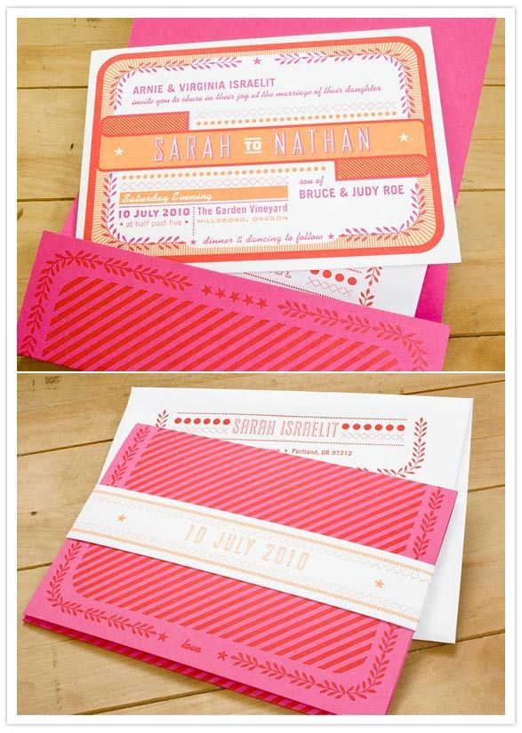 pink and orange invites -- nice belly band and package.