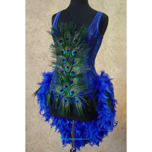 Size XL-Royal Blue Peacock Feather Moulin Burlesque Rouge Mardi Gras... (300 AUD) ❤ liked on Polyvore featuring costumes, peacock halloween costume, feather costume, mardi gras halloween costumes, mardi gras masquerade costumes and burlesque halloween costumes