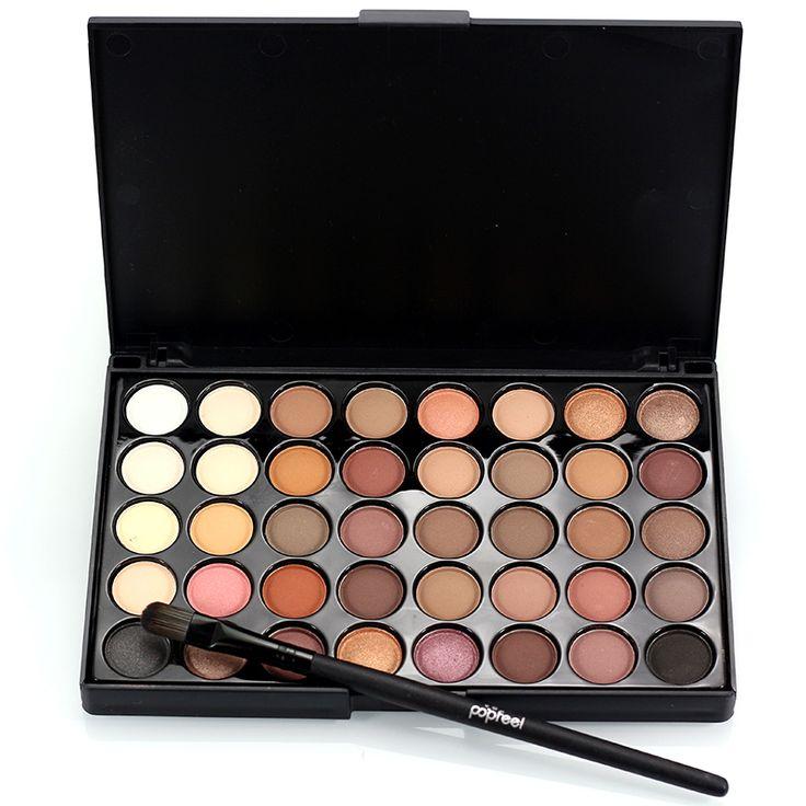 Profesional 40 warna hangat warna pigmen make up mata glitter matte tahan air makeup nude eyeshadow palette dengan brush