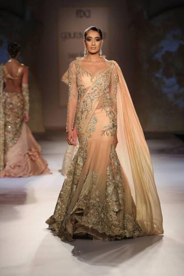 indian wedding clothes gaurav gupta 2014, peach lehenga